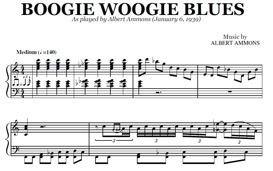 Boogie Woogie Blues (PDF), by Albert Ammons