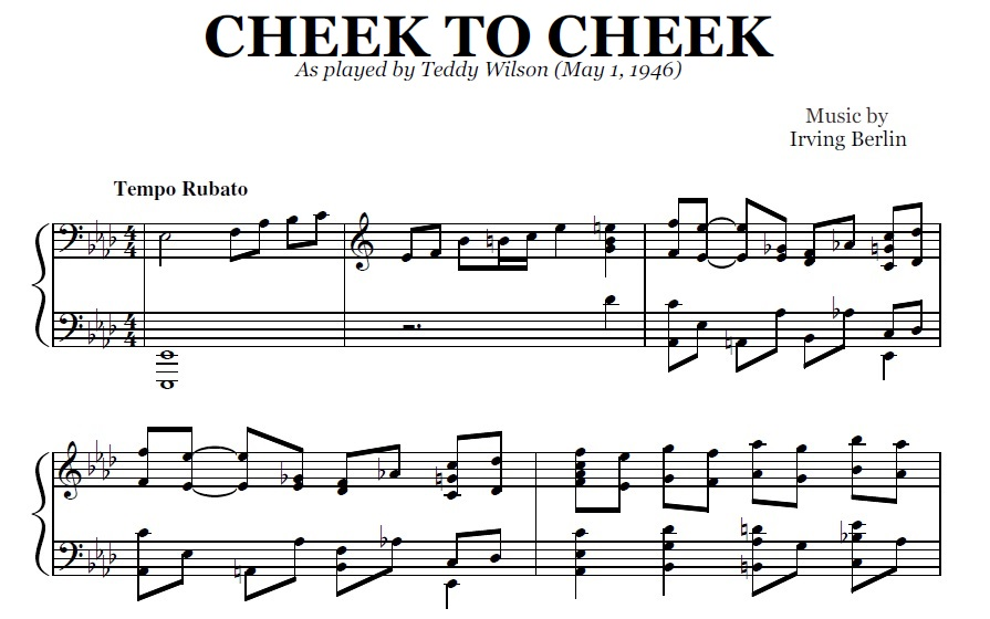Cheek To Cheek (PDF), by Teddy Wilson