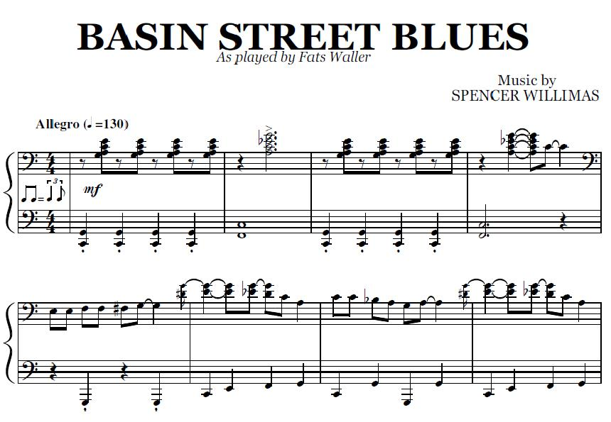 Basin Street Blues (PDF), by Fats Waller