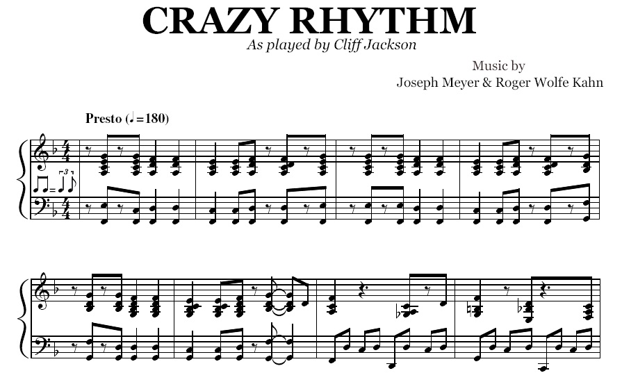All Music Chords crazy sheet music : Crazy Rhythm (PDF), by Cliff Jackson
