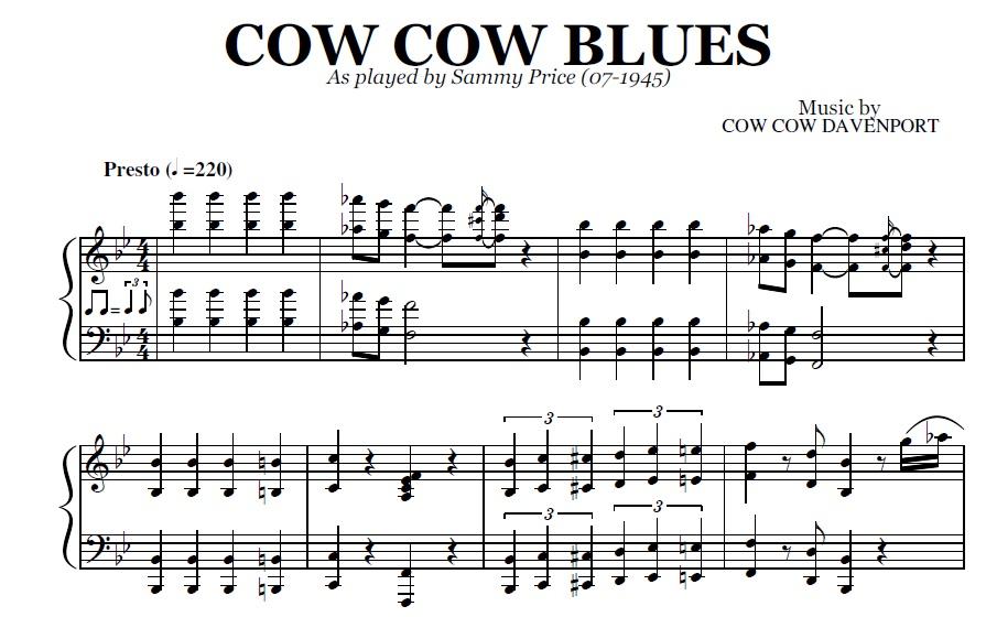 Cow Cow Blues (PDF), by Sammy Price