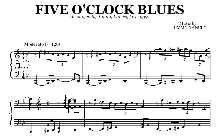 Five O'clock Blues (PDF), by Jimmy Yancey