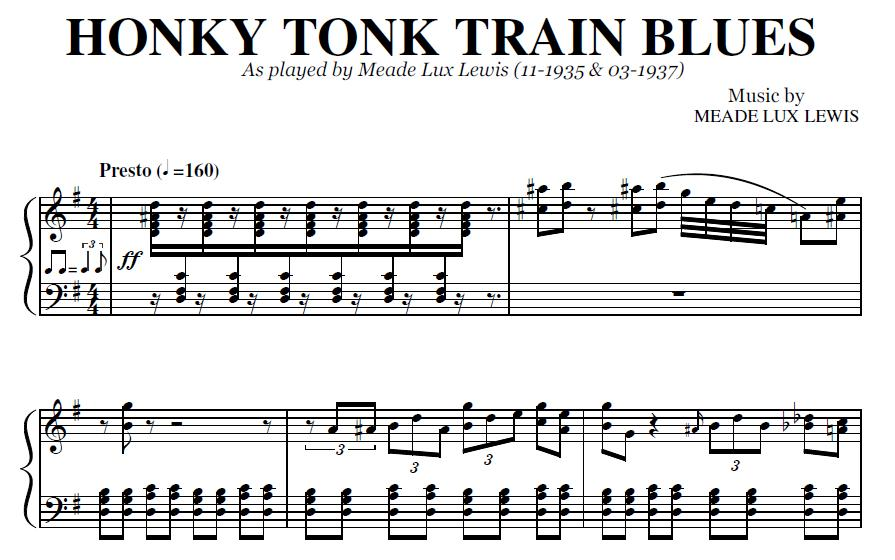 Honky Tonk Train Blues (PDF), by Meade Lux Lewis
