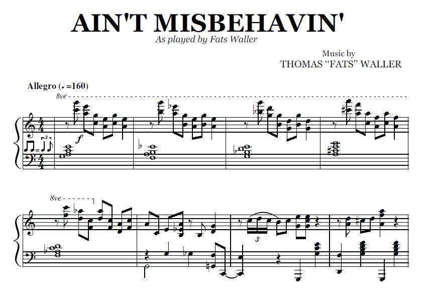 Ain't Misbehavin' (PDF), by Fats Waller