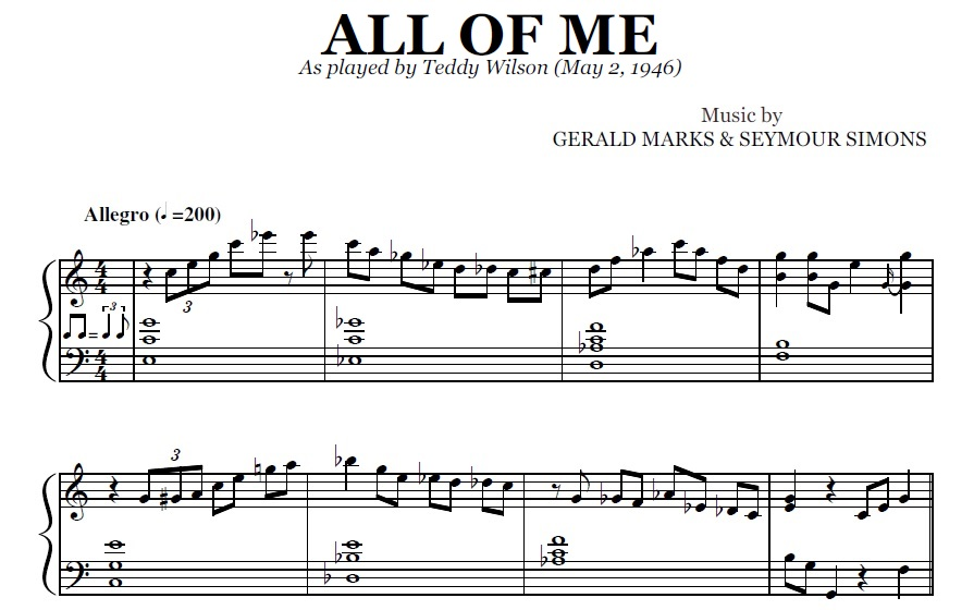 All Music Chords all of me sheet music : All Of Me (PDF), by Teddy Wilson