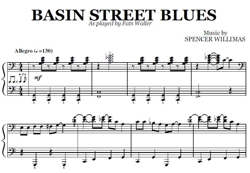 Piano easy piano blues sheet music : Basin Street Blues (PDF), by Fats Waller