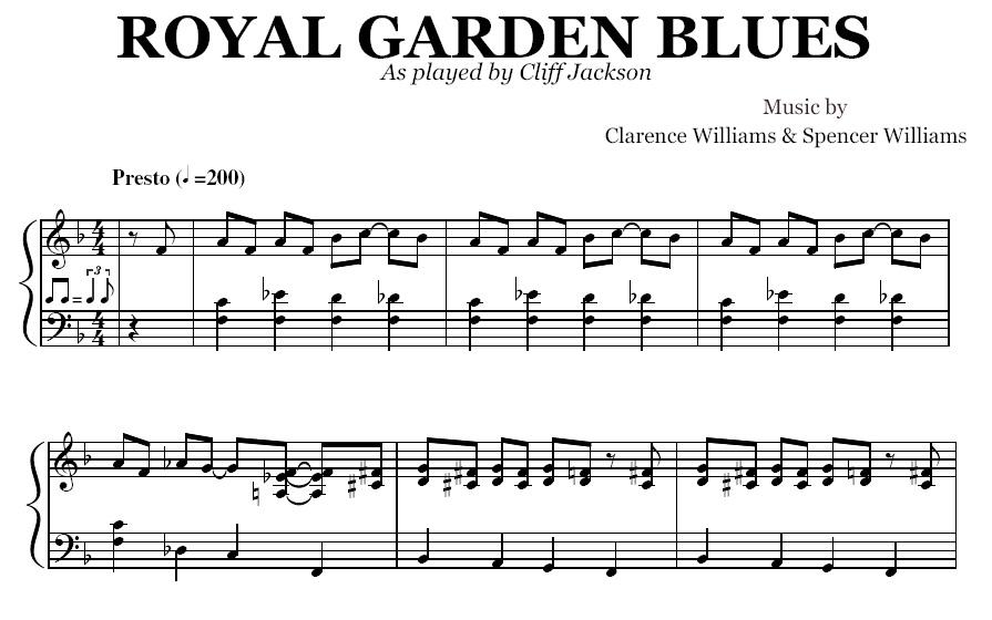Royal Garden Blues (PDF), by Cliff Jackson
