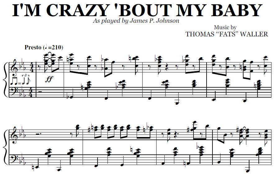 All Music Chords crazy sheet music : I'm Crazy 'Bout My Baby (PDF), by James P. Johnson