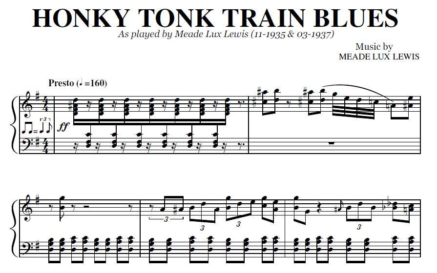 Honky Tonk Train Blues (PDF), by Meade Lux Lewis