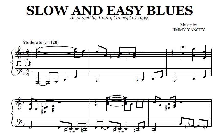 Piano easy piano blues sheet music : Slow And Easy Blues (PDF), by Jimmy Yancey